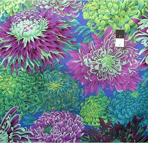 Kaffe Classics - Japanese Chrysanthemum Green - Kaffee Fassett - pj41.GREEN - 884424057341