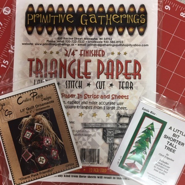 Little Bit Shorter Tall Tree, Lil Quilt Ornaments, & Primitive Gatherings .75 in. Triangle Paper Wall Hanging Pattern Kit - VSC307 - PRJ-213 - CP224