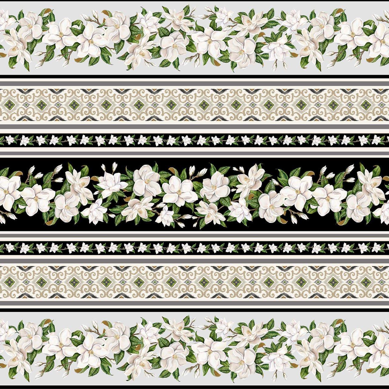 Magnolia Mania - Black Border Stripe - 9850-99 Black - Blank Quilting