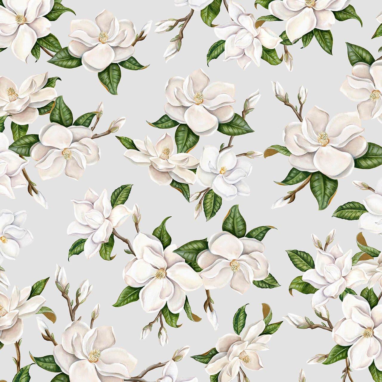 Magnolia Mania - Light Grey Large Flower - 9844-90 Lt - Blank Quilting