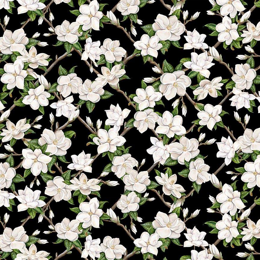 Magnolia Mania - Small Magnolia on Black - 9845-99 Black - Blank Quilting