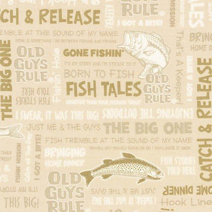 Old Guys Rule - Natural - Fish - Letters - Outdoors - Robert Kaufman - AOD-16700-14