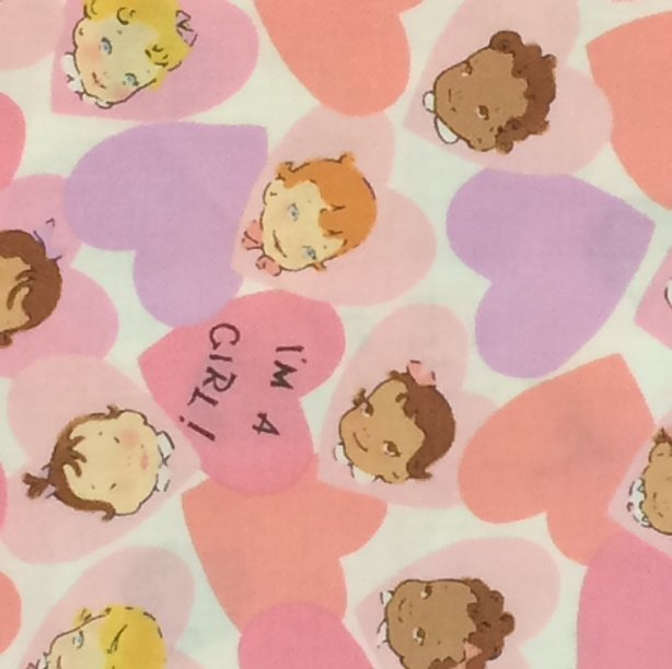Pitter Patter - Pink with Baby Girl Print - Alexander Henry Fabrics - 1606AR