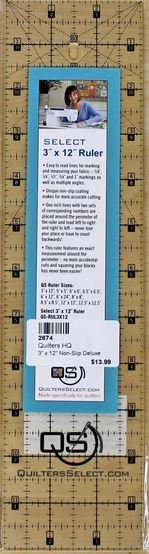 Select 3 x 12 Ruler -  QS-RUL3X12 - Quilters Select - Alex Anderson - 844050099610 - QS-RUL3X12