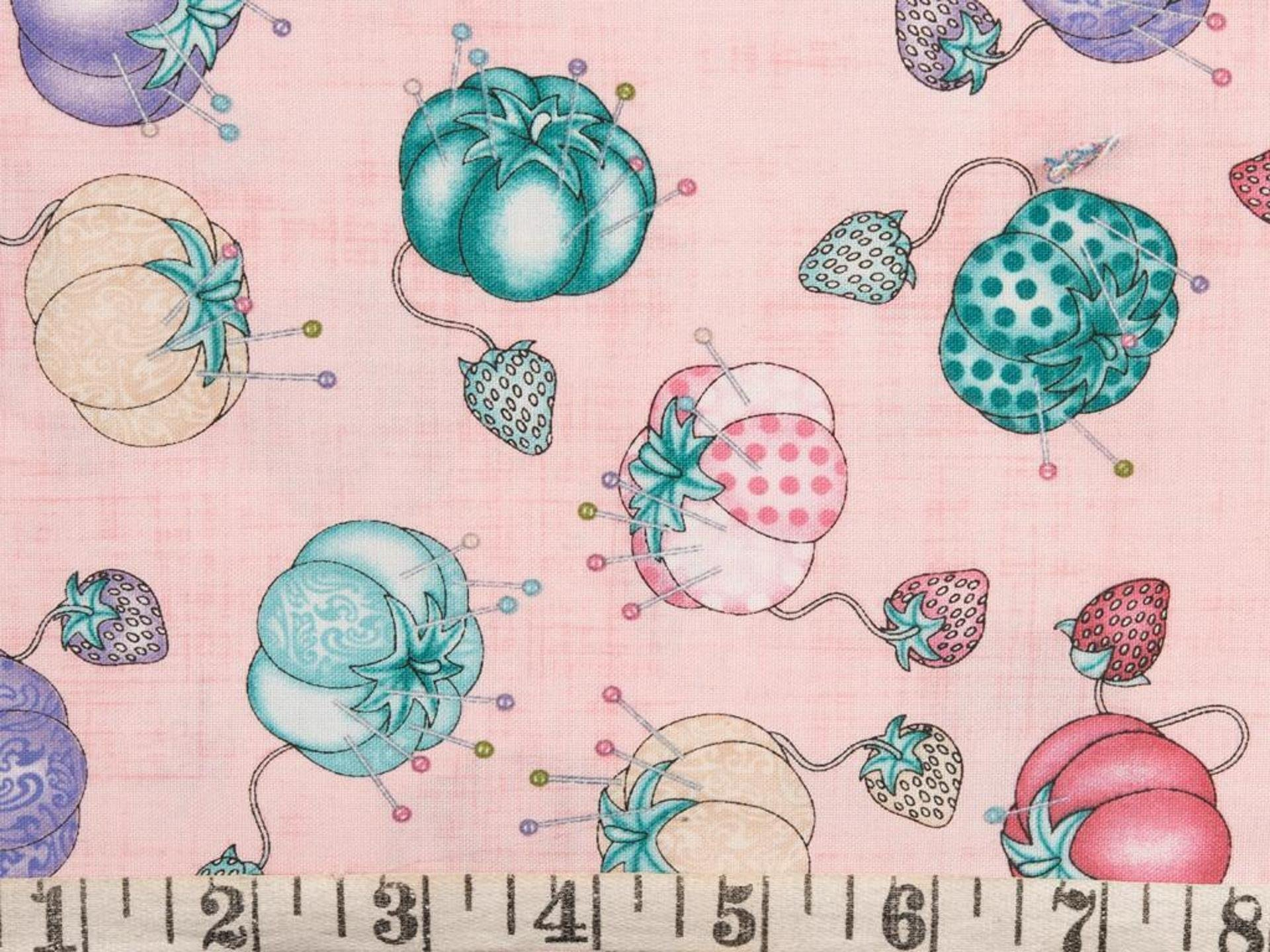 Sew in love by Dan Morris for RJR Fabrics Pink with Pincushions