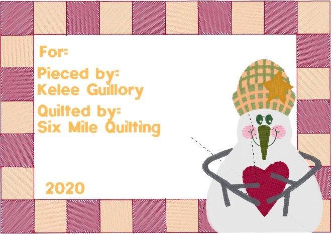 Quilt Label - Snowman Quilt - Embroidered - 6.86(w) x 4.83(h)