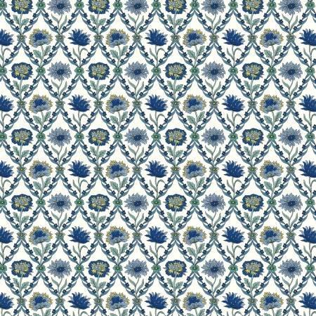 Summer House - Kew Trellis Blue - Liberty Fabrics - Riley Blake - 04775670W - 889333145974