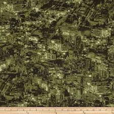 United We Stand - Black - Olive - Green - Maria Kalinowski - Kanvas - Benartex Fabrics  - 06315 49