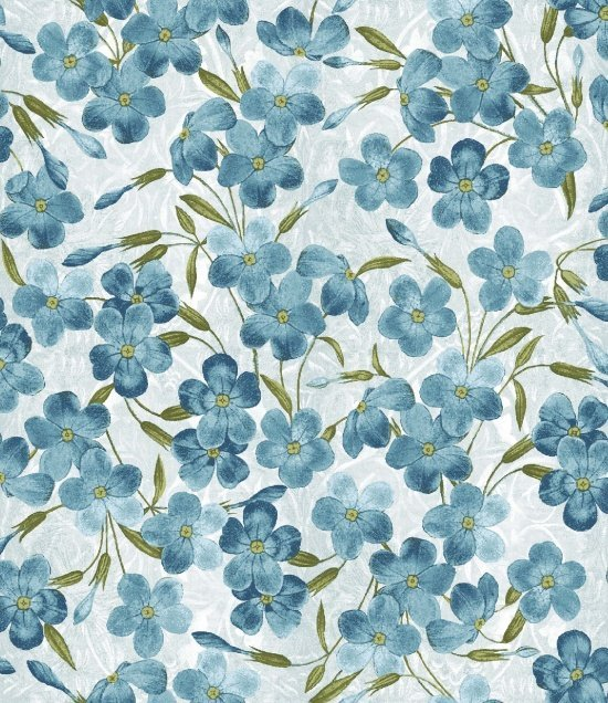 Walk by Faith - Floral Gray with Blue Flowers Floral - Blank Quilting - 8889 70
