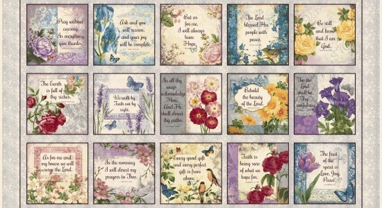 Walk by Faith - Inspirational Blocks Floral  - Blank Quilting - 8885 90