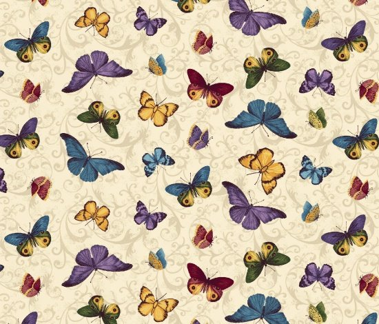 Walk by Faith - Tan Fabric with Colorful Butterflies - Blank Quilting - 8888 011