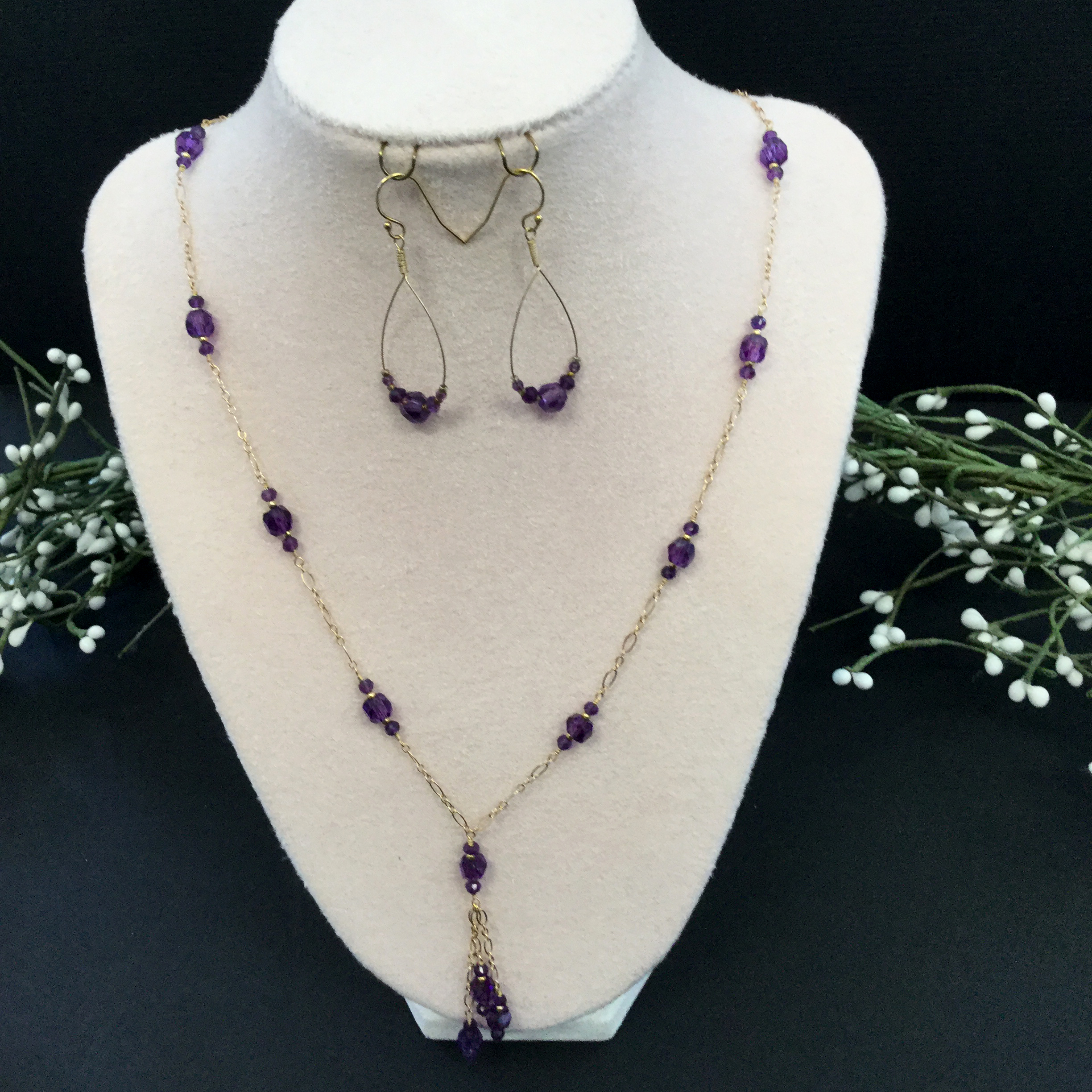 37-amethyst/gold fill set (22 in necklace and earrings)