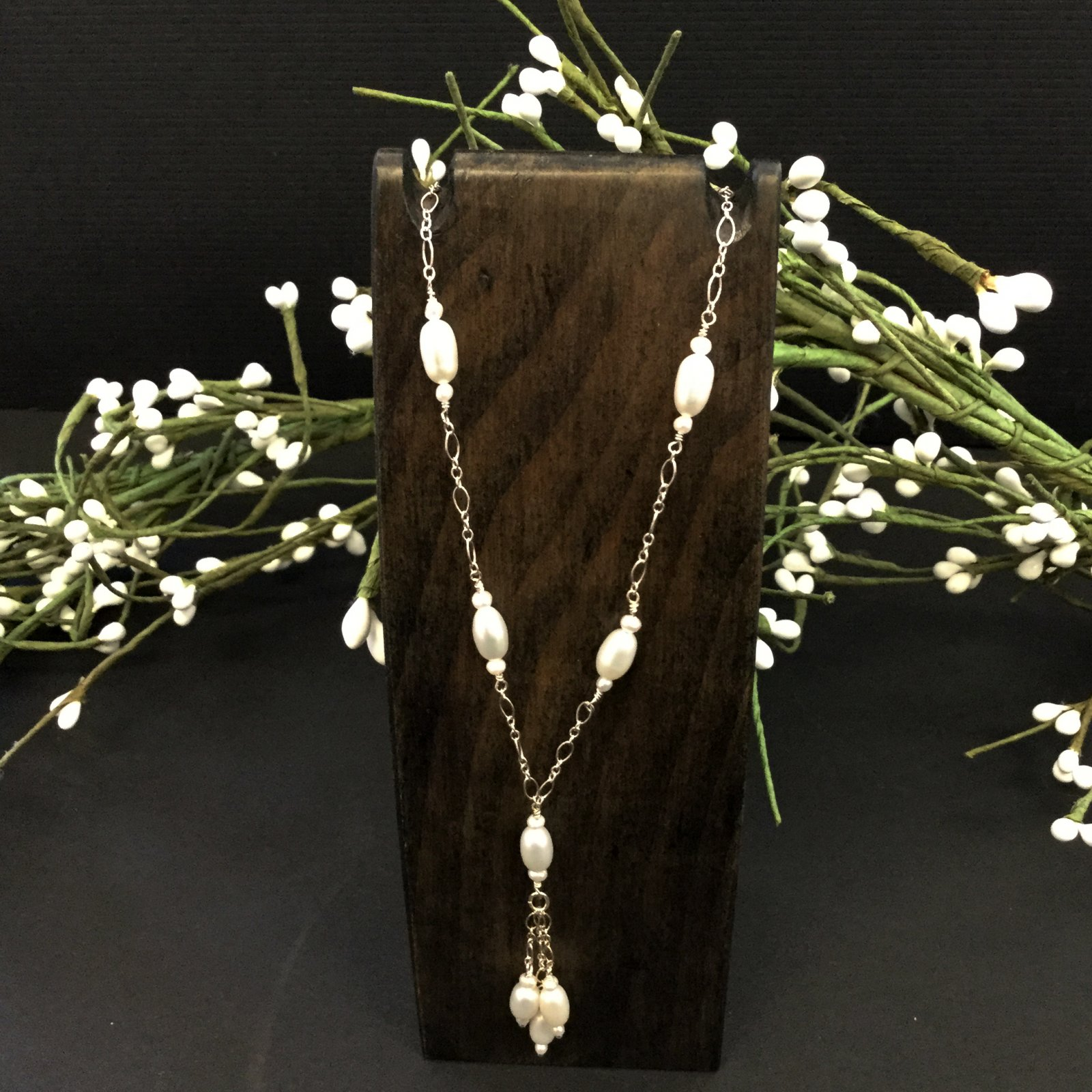 37-22 inch pearl/sterling necklace with drop