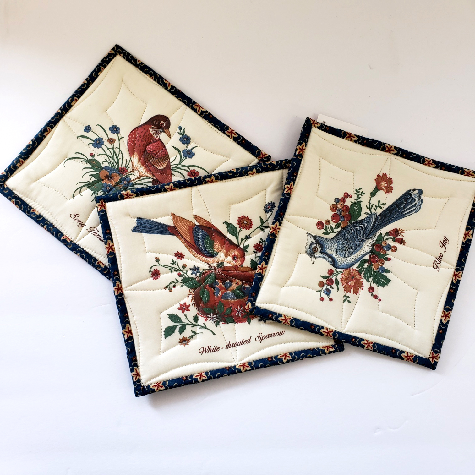 23-Square Potholders - Birds