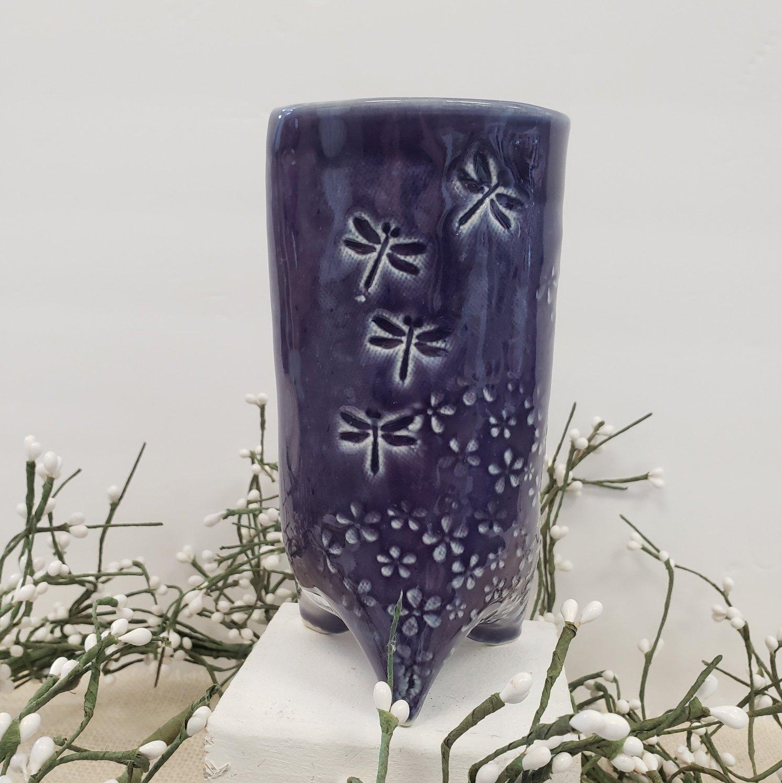 52-Purple Dragonfly Vase