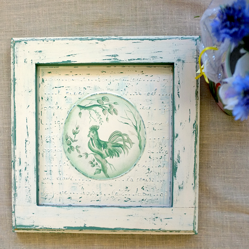 15-Painted Tin Framed Rooster