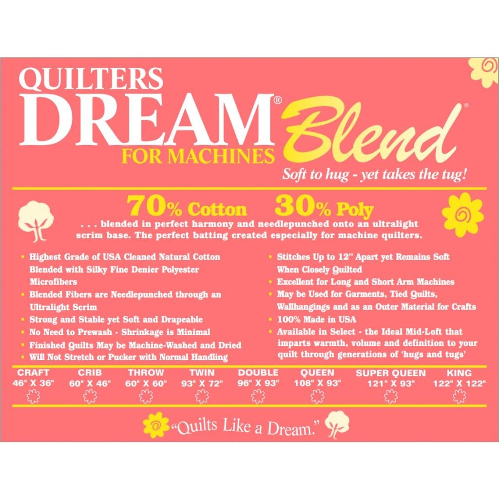 Item#12025.7030TH - Quilters Dream Batting Dream Blend 70/30 Throw Sized 60x60