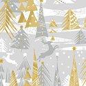 Holiday Village - Silver Reindeer Forest w/Metallic