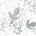 Holiday Village - Silver Song Birds w/Metallic