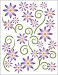 Tattoo Decal Asters Violet (Printed On Clear)