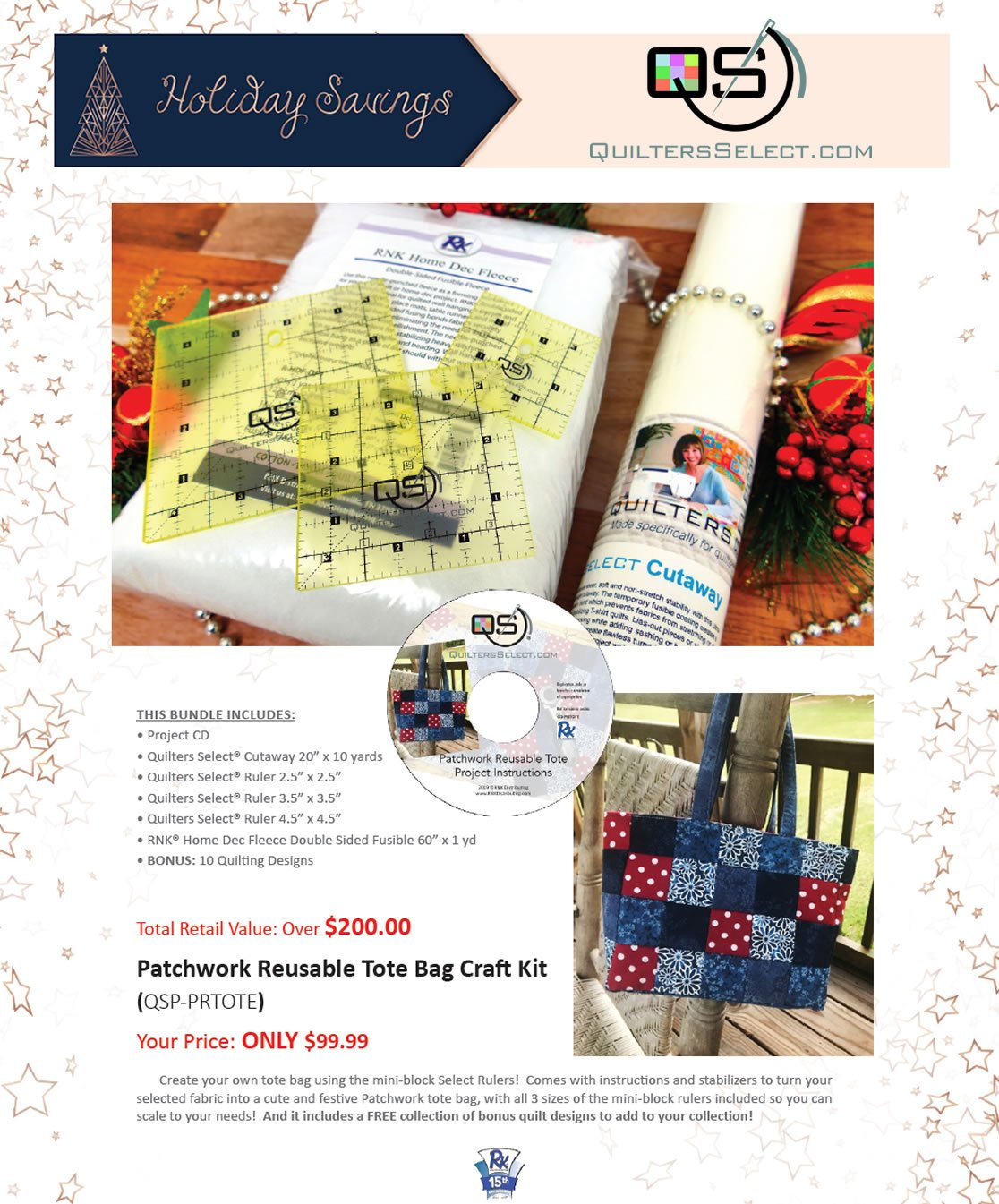 Quilters Select Patchwork Reusble Tote Kit