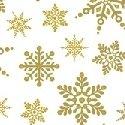 Holiday Village - Gold Snowflakes w/Metallic