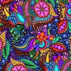 Carnivale - 26369 JX - Floral Geometric - Black