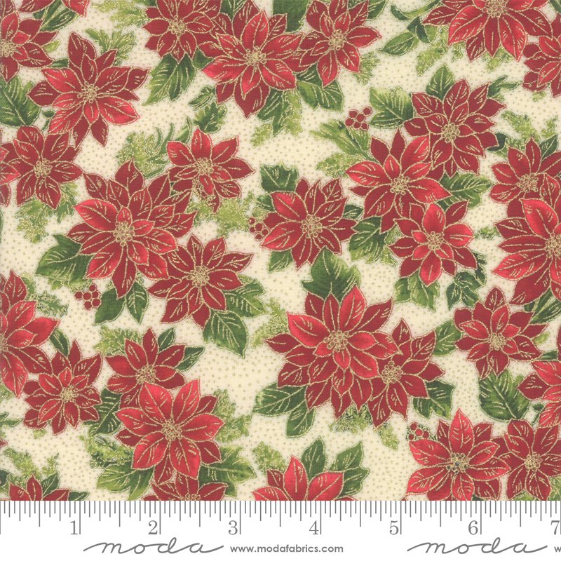 Poinsettia Pine Metallic - Cream 33513 11M