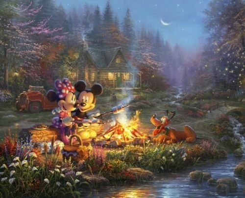 Mickey & Minnie Sweethearts Campfire Panel - DS-2052-9C