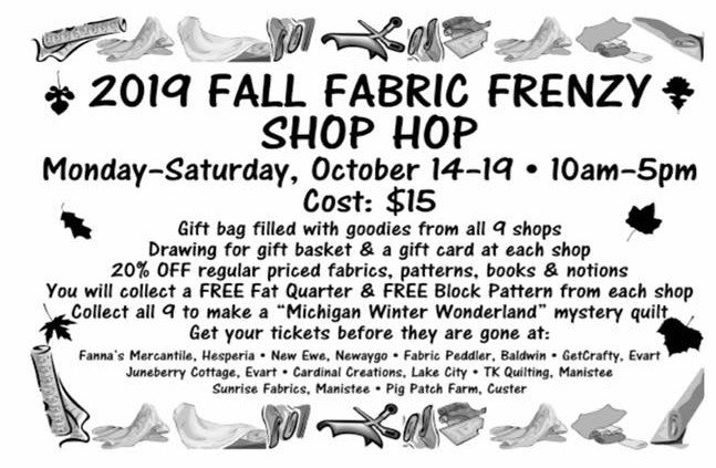 Fall Fabric Frenzy Shop Hop Tickets October 14-19