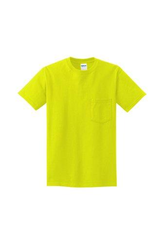 2300 SGL Gildan - Ultra Cotton® 100% Cotton T-Shirt with Pocket Safety Green.