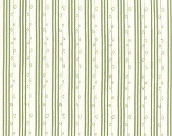 Moda Mistletoe Lane 2887 14  White Sage Stripe  with line & curl on Cream