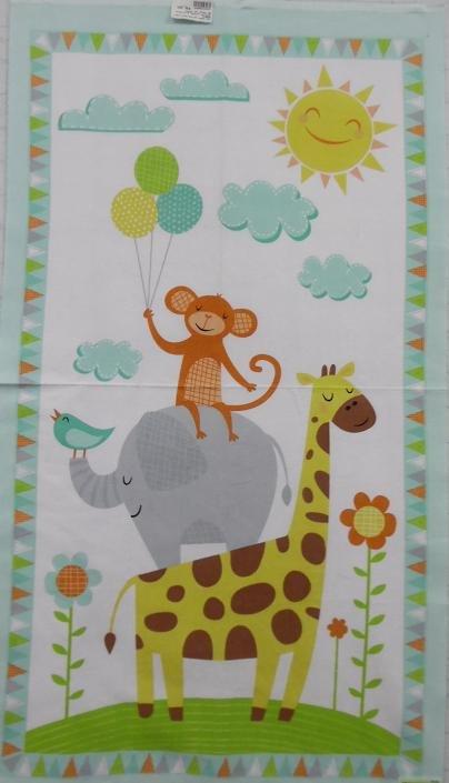 WP 23073 175 Jungle Jubilee Flannel Wilmington Prints monkey giraffe & Eliphant Panel Print (2/3 Yd. panel)