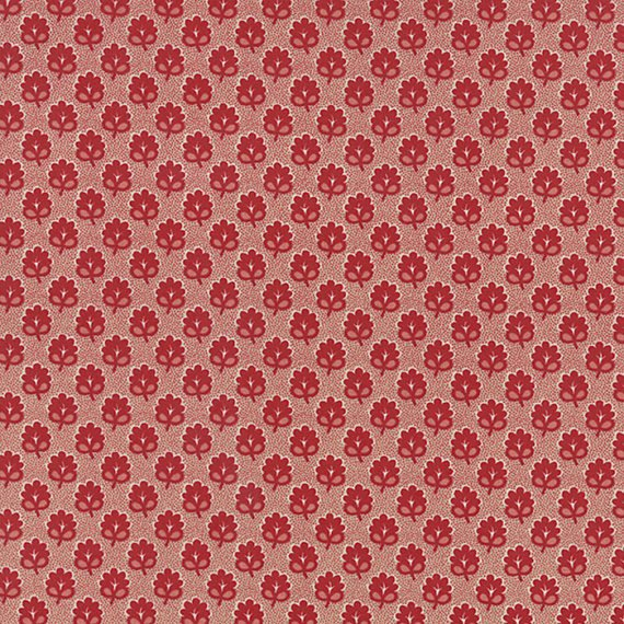 Moda  Rue Indienne 1368514  French General  Rouge Med.Red Flowers on Red Pindots
