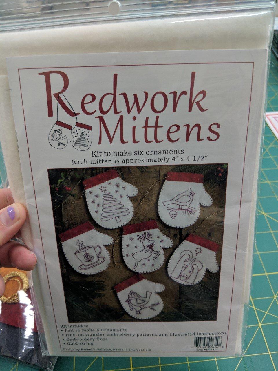 Redwork Mitten KO614  Six 4 Ornaments Kit & Pattern