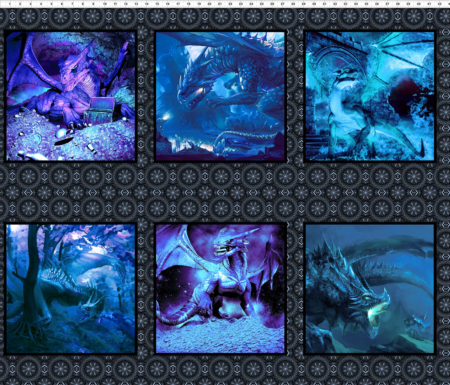 ETA TBA Blue Back in Stock Soon 76 x 92 Quilt Kit in RedOrange or Blue Dragons Quilt Kit from In the Beginning Fabrics