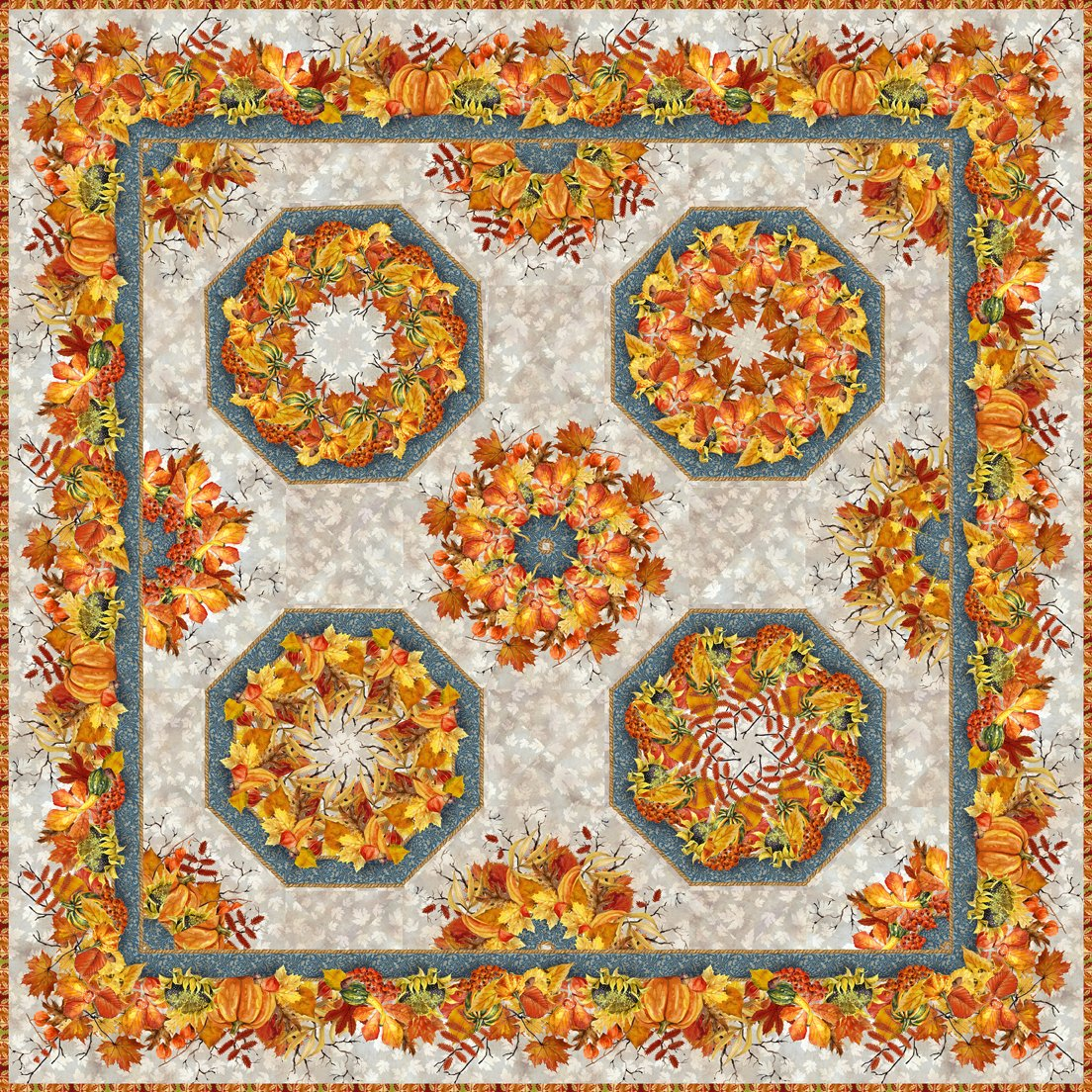 Our Autumn Friends Quilt Kaleidoscope Quilt