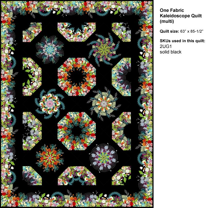 One Fabric Kaleidoscope Pattern