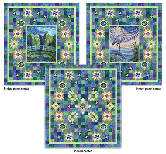 Water Reflections Block of the Month with Heron Panel