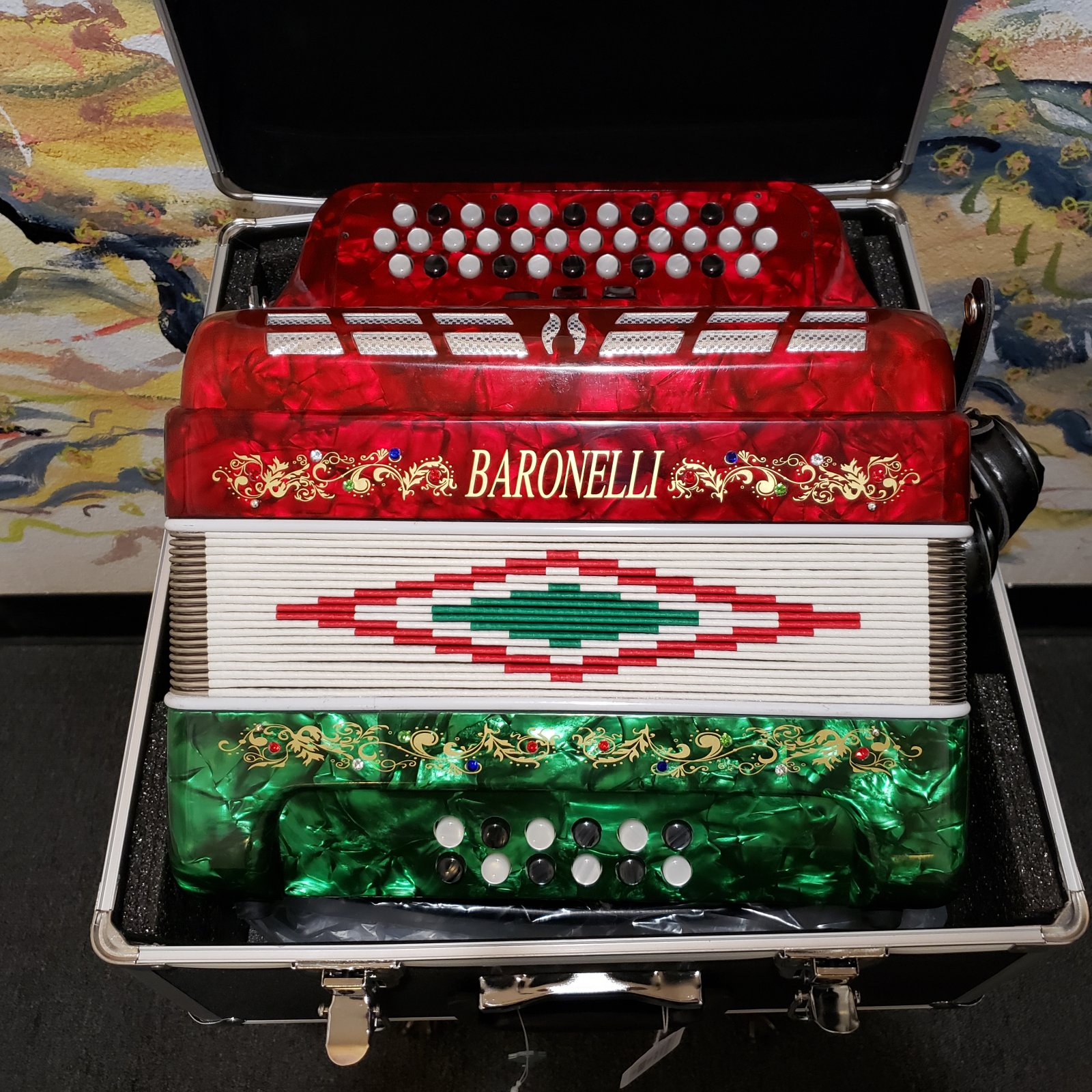 BARONELLI AC3412G3-RWG 34 Button Accordion 12 Bass 3 Switches w/Case