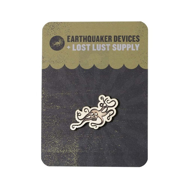 EarthQuaker Devices + Lost Lust Supply OctoSkull Brass Enamel Pin