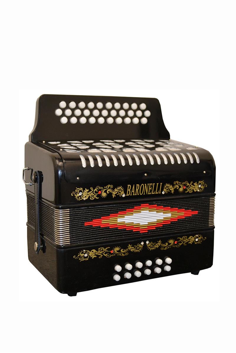 BARONELLI AC3112G-BK Full Size 31 Button Accordion Black w/Hardcase