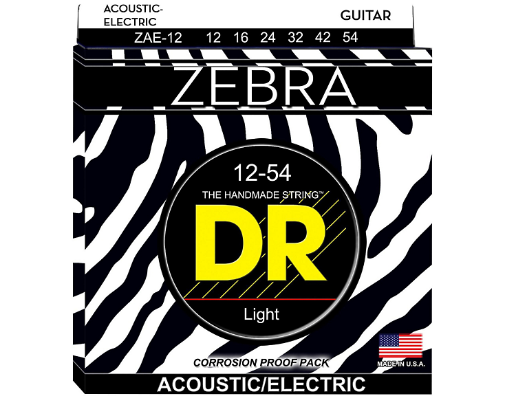 DR Zebra Acoustic-Electric Guitar Strings 12-54