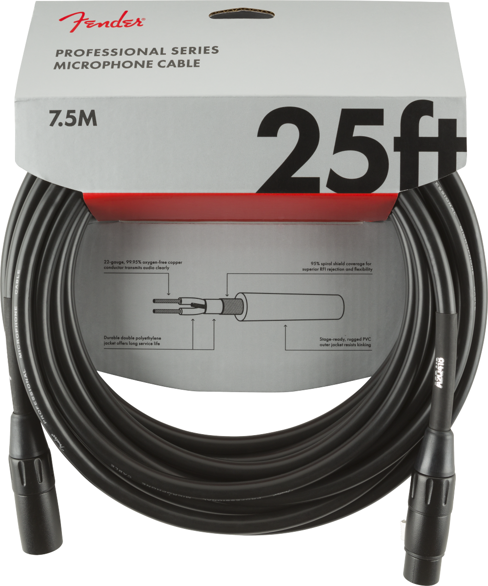 Fender Professional Series Microphone Cable 25' Black