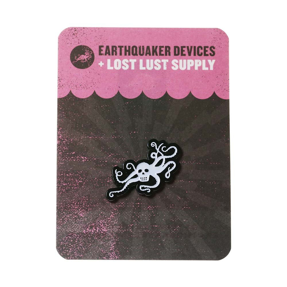 EarthQuaker Devices + Lost Lust Supply OctoSkull White Enamel Pin