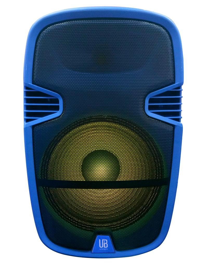 Ultra Beats BC-4200-BL 15 Bluetooth Speaker Blue w/Stand and Wireless Microphone