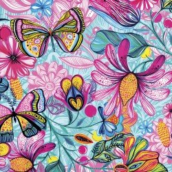 Magic Garden - Turquoise - Flowers & Butterflies