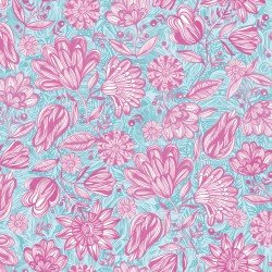 Magic Garden - Turquoise/Pink - Flowers