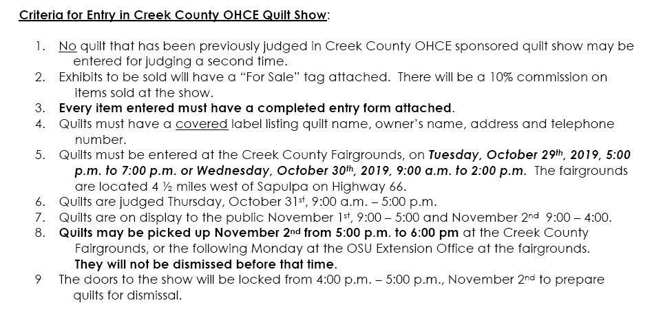 Quilt Show Entry Info