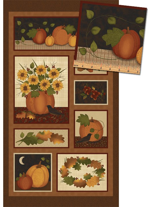 Benartex Pumpkin Patch Panel Spice